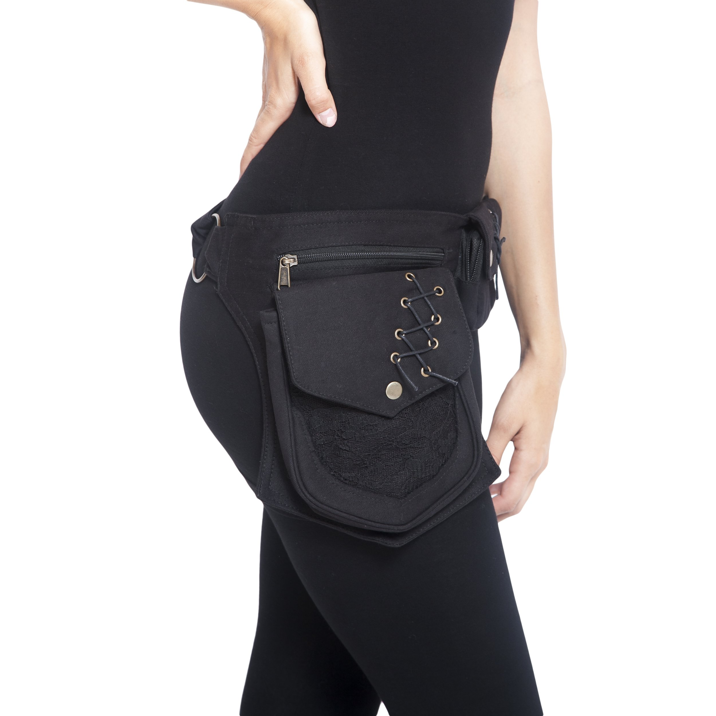 Practical Fannypack Cotton Waistbag Travel Utility Travel Belt-Black-One Size