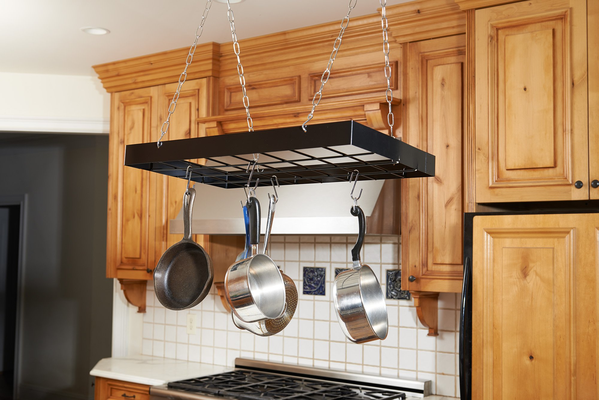 pot at andwiths alluring ceiling absorbing hanging with trendy storage racks rack pots pan build fnqzss kitchen home depot furnitures lighted plus