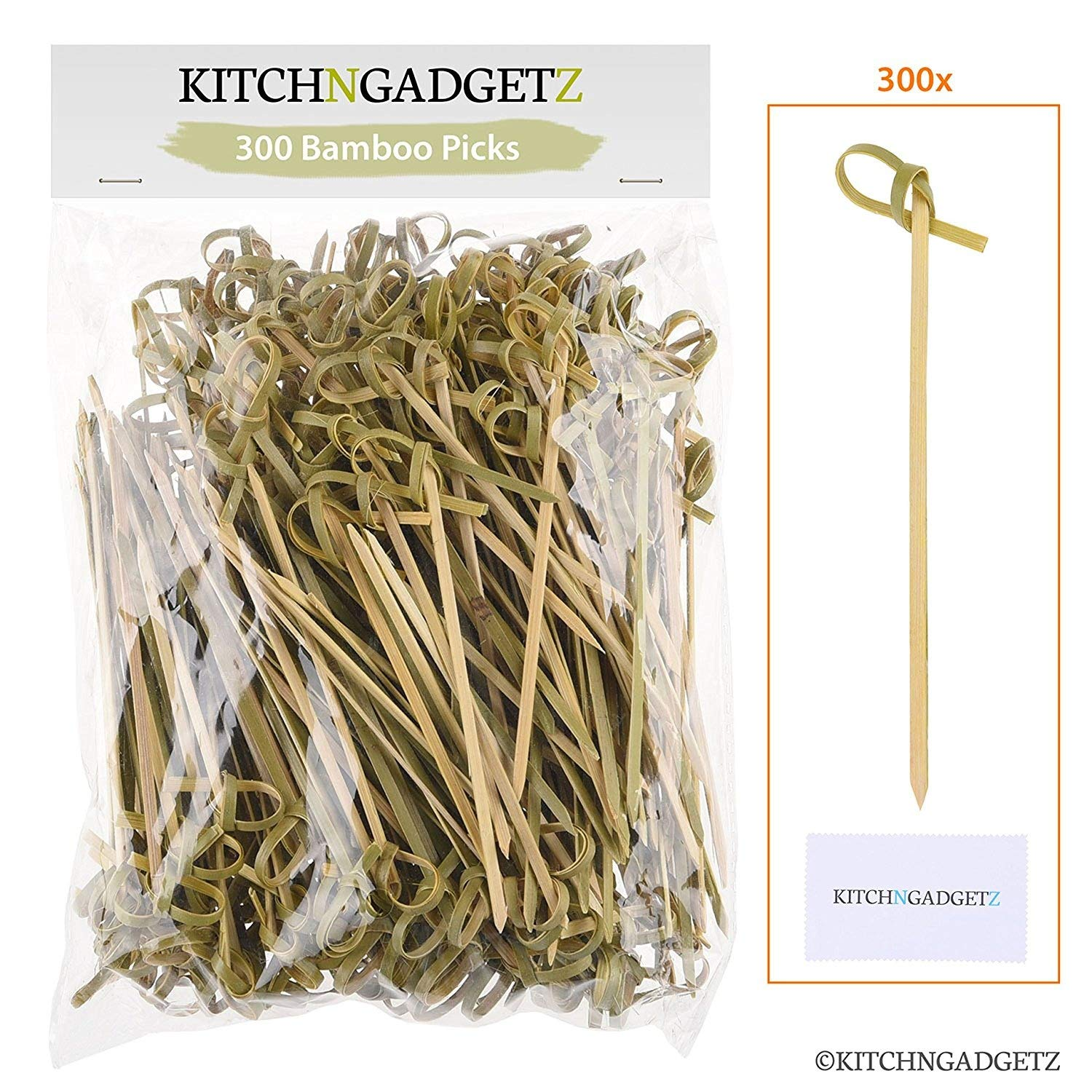Bamboo Cocktail Picks - 300 Pack - 4.1 inch - With Looped Knot - Great for Cocktail Party or Barbeque Snacks, Club Sandwiches, etc. - Natural Bamboo - Keeps Ingredients Pinned Together - Stylish Kitch N Gadgetz KG-163-BAM
