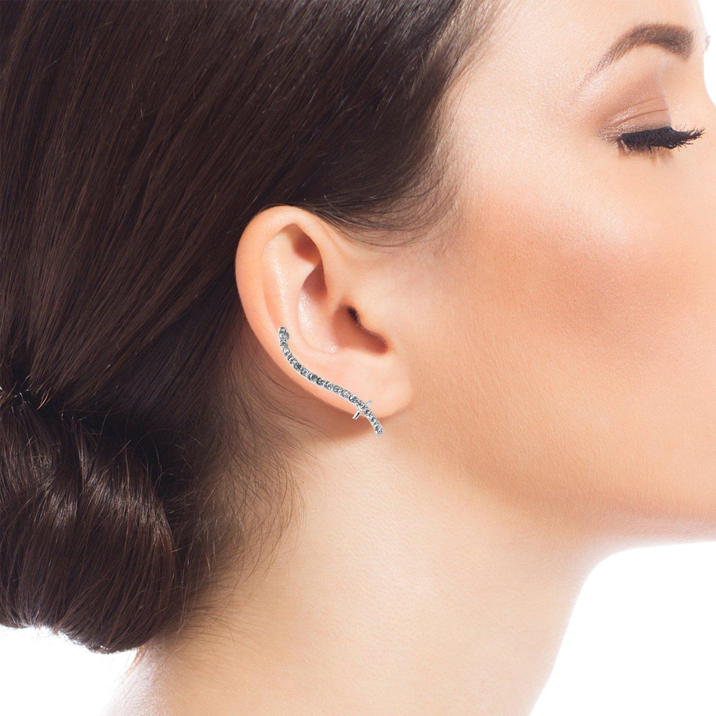 Spinningdaisy Crystal Wavy Curve Double Dipper Ear Crawler