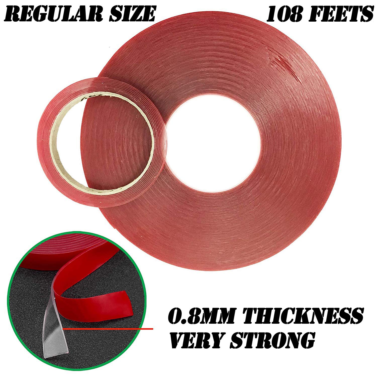 LLP Double Sided Tape, Acrylic Mounting Tape 0.8' Width x 108 Feet Long Weatherproof for Outdoor & Indoor, Removable & Residue-Free, 0.8mm Thick Strong Adhesive