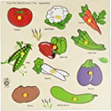 Skillofun Wooden Kingsize Identification Tray Vegetables with Knobs, Multi Color