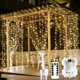 LE LED Window Curtain Lights, 300 LED, 9.84ft x 9.84ft, 8 Modes, USB & Battery Powered String Fairy Light with Remote Control, Warm White, String Light for Christmas/Halloween/Wedding/Party