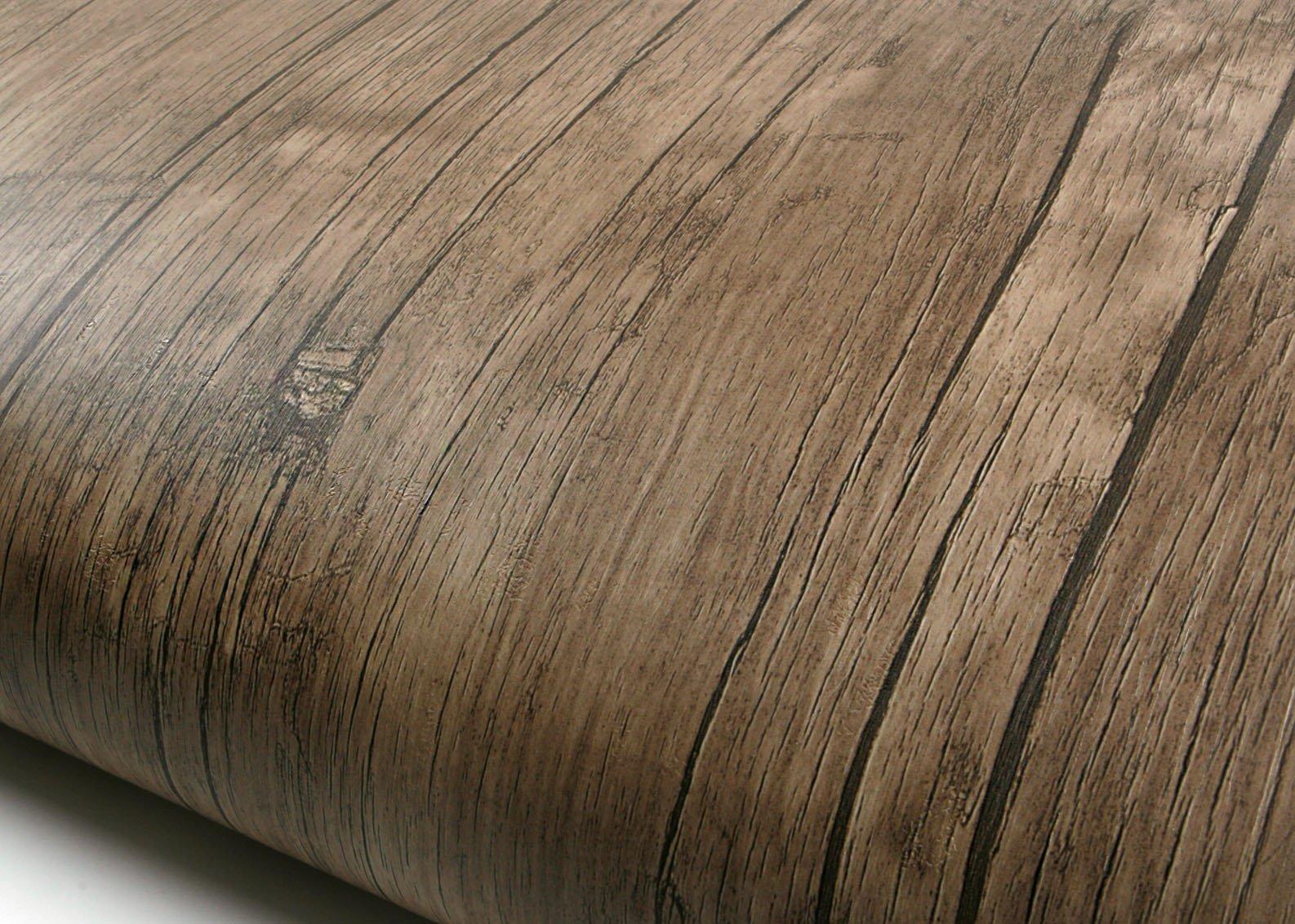 ROSEROSA Peel & Stick Backsplash Sycamore Antique Wood Textured Vinyl Contact Paper Self-adhesive Wallpaper Shelf Liner Table and Door Reform (PF4034-1 : 2.00 Feet X 6.56 Feet)