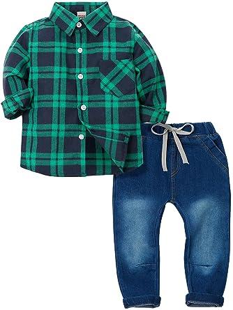ZOEREA Bebé Niño Conjunto de Ropa de 2 Piezas Camisetas Rayadas de Manga Larga con Pajarita + Vaquero Bebés Niños Pantalones Formal Traje de ...