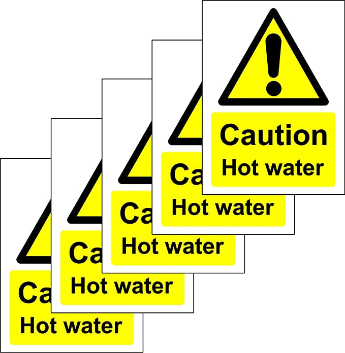 Peachy Caution Hot Water Safety Sign Self Adhesive Sticker 100Mm X 75Mm Pack Of 5 Stickers Download Free Architecture Designs Scobabritishbridgeorg