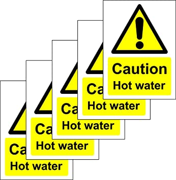 Caution Hot Water Safety Sign - Self adhesive sticker 100mm x 75mm (PACK OF  5 STICKERS)
