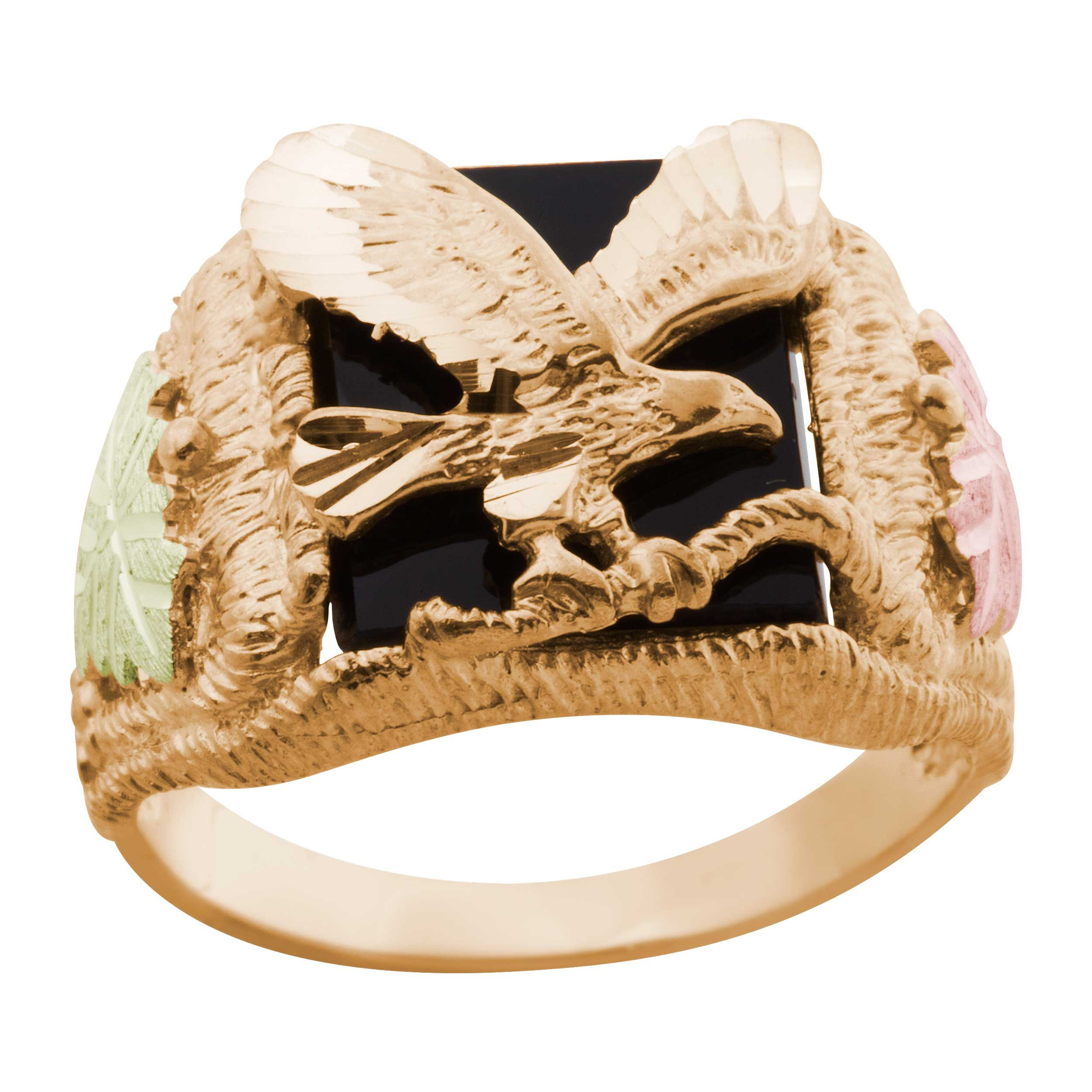 Men's Onyx Eagle Ring, 10k Yellow Gold, 12k Pink and Green Gold Black Hills Gold Motif, Size 14