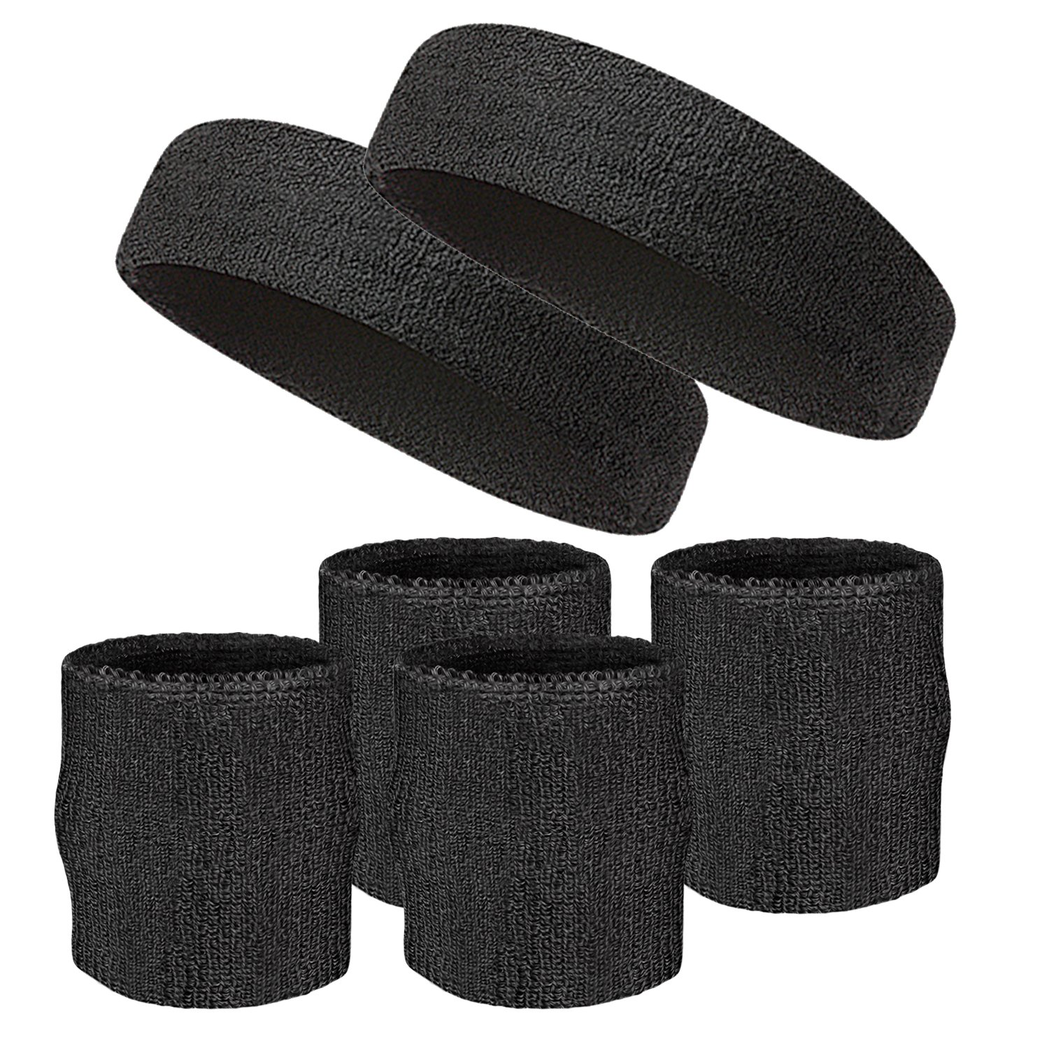 Elehere 2018 New Sweatband Wristband for Sports Basketball Football Absorbent Party Outdoor 3.5'' Pack of 6 (Black- Headbands & Wristbands) by Elehere (Image #1)