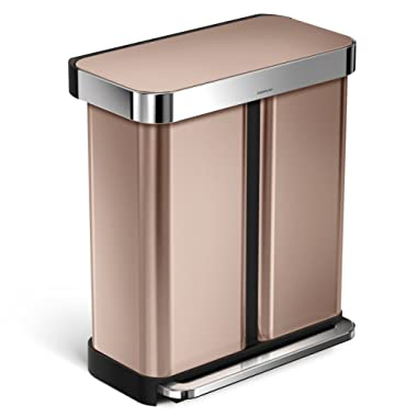 simplehuman 58 Liter / 15.3 Gallon Stainless Steel Dual Compartment Rectangular Kitchen Step Trash Can Recycler with Liner Pocket, Rose Gold
