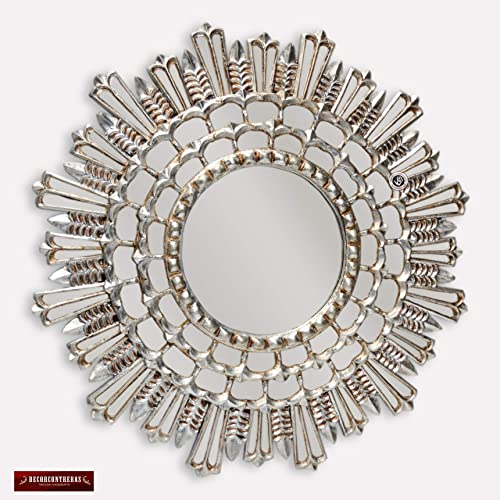 1f560579eb662 Amazon.com  Decorative Silver Round Mirror for wall 31.5