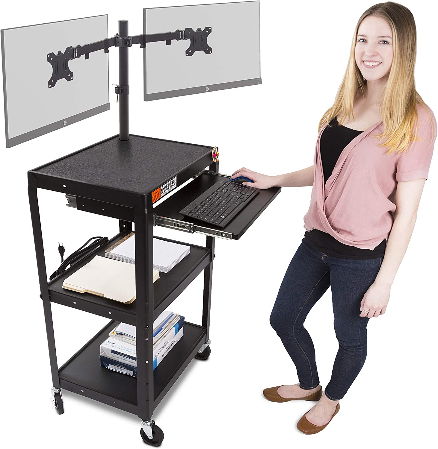 Line Leader AV Cart with Keyboard Tray and Dual Monitor Mount - Mobile Workstation/Presentation Cart with Monitor Arm - Take Your Office On-The-Go with Our Stand Up Computer Cart (Black / 24 x 18)