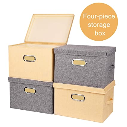 Washable Foldable Storage Box /Bin/Container, KINDEN Collapsible File  /Letter Storage Boxes 30L*[4 pack], Linen Fabric +Solid Plastic  Wall,Moisture