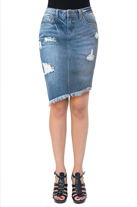 HyBrid & Company Womens Super Comfy Stretch Denim Skirt