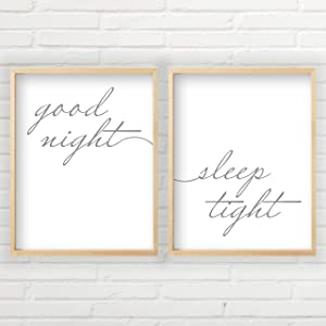 Good Night Sleep Tight Sign (2 Unframed Prints - 11x14 inches, Good Night Sleep Tight Wall Art, Guest Room Decor, Farmhouse Decor, 2 Unframed Farmhouse Prints - 11x14 inches)