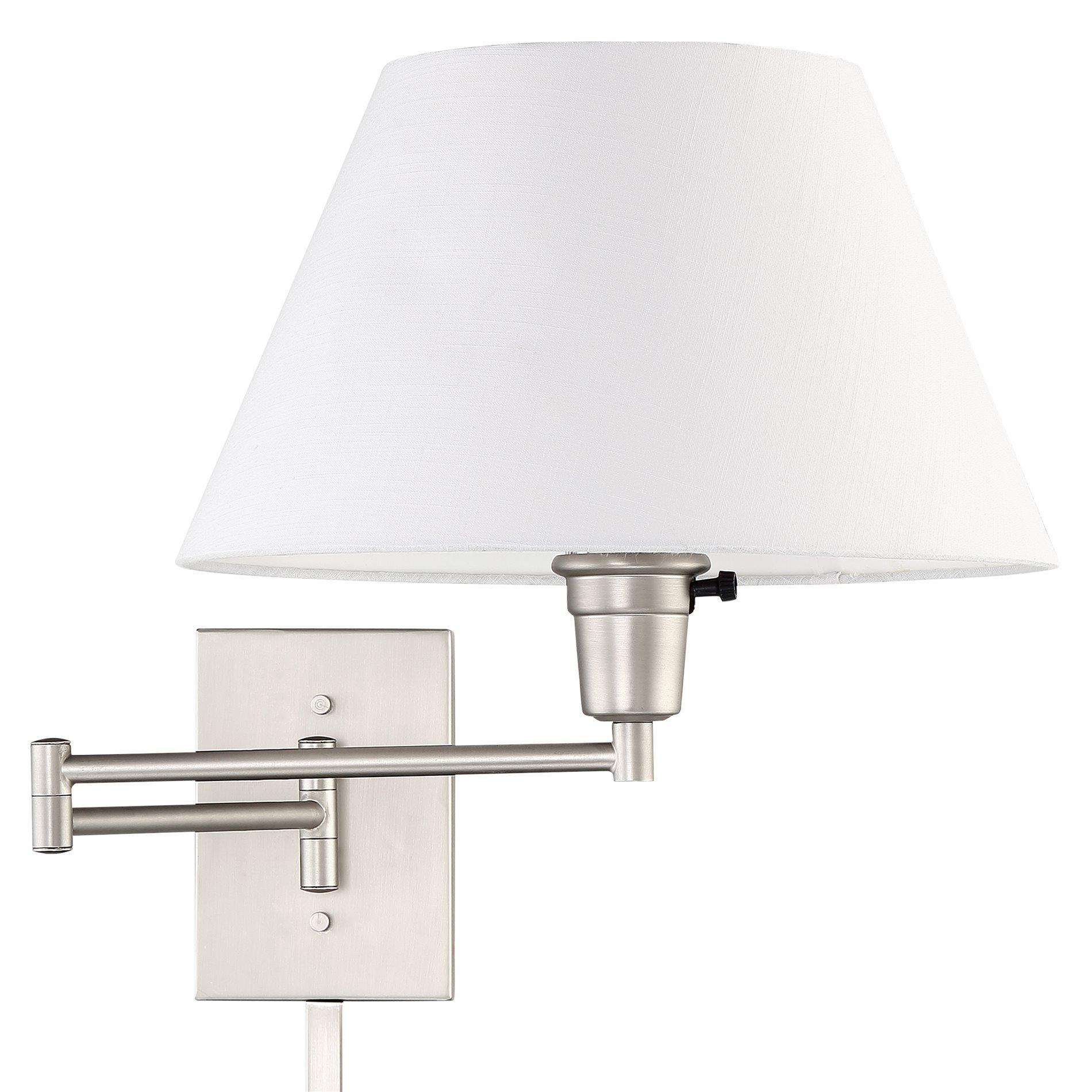 Kira Home Cambridge 13'' Swing Arm Wall Lamp - Plug in/Wall Mount + White Fabric Shade, 150W 3-Way + Cord Covers, Satin Nickel Finish