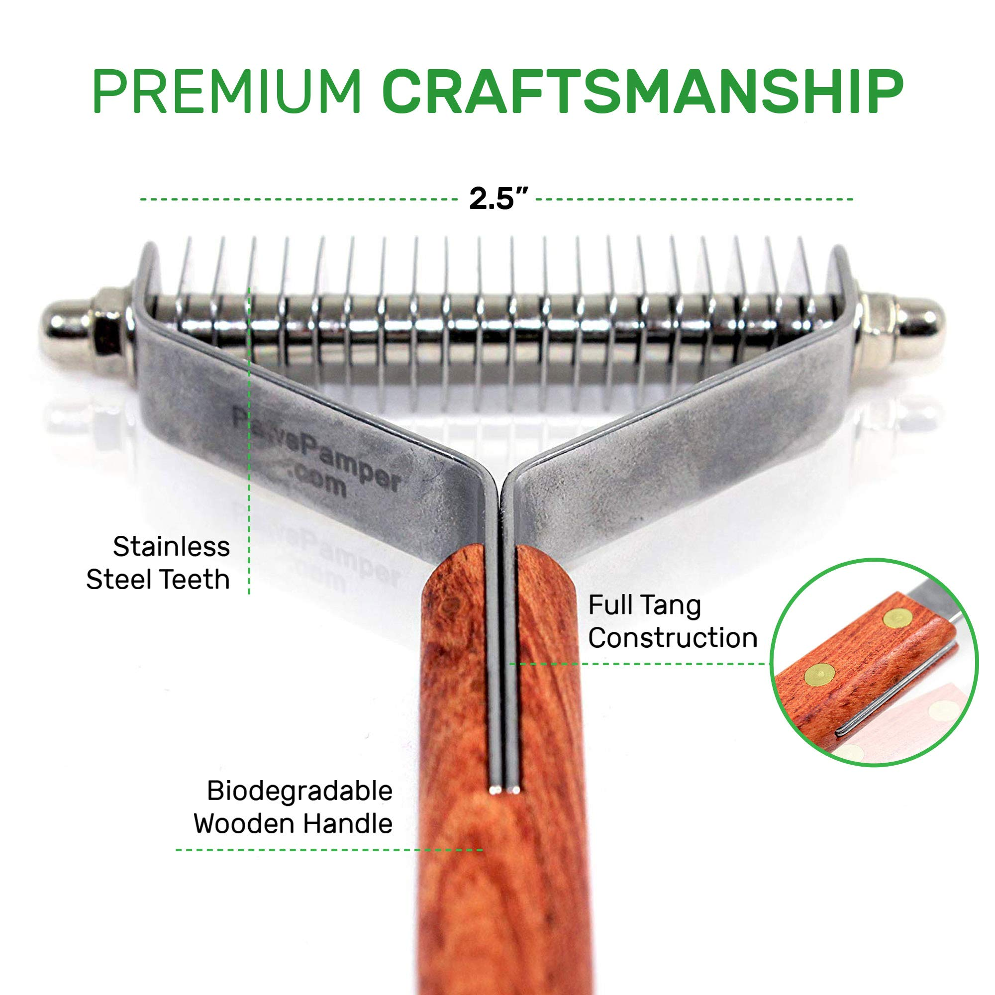 PawsPamper Dual-Use Undercoat Rake - Dematting & Finishing Grooming Tool for Dogs and Cats (13+27 Blades) by PawsPamper (Image #4)