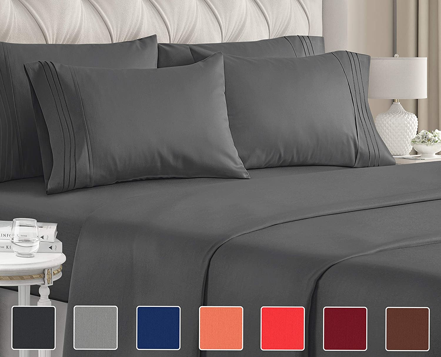 Twin Size Sheet Set - 4 Piece - Hotel Luxury Bed Sheets - Extra Soft - Deep Pockets - Easy Fit - Breathable & Cooling Sheets - Wrinkle Free - Comfy - Dark Grey Bed Sheets - Twins Sheets - 4 PC