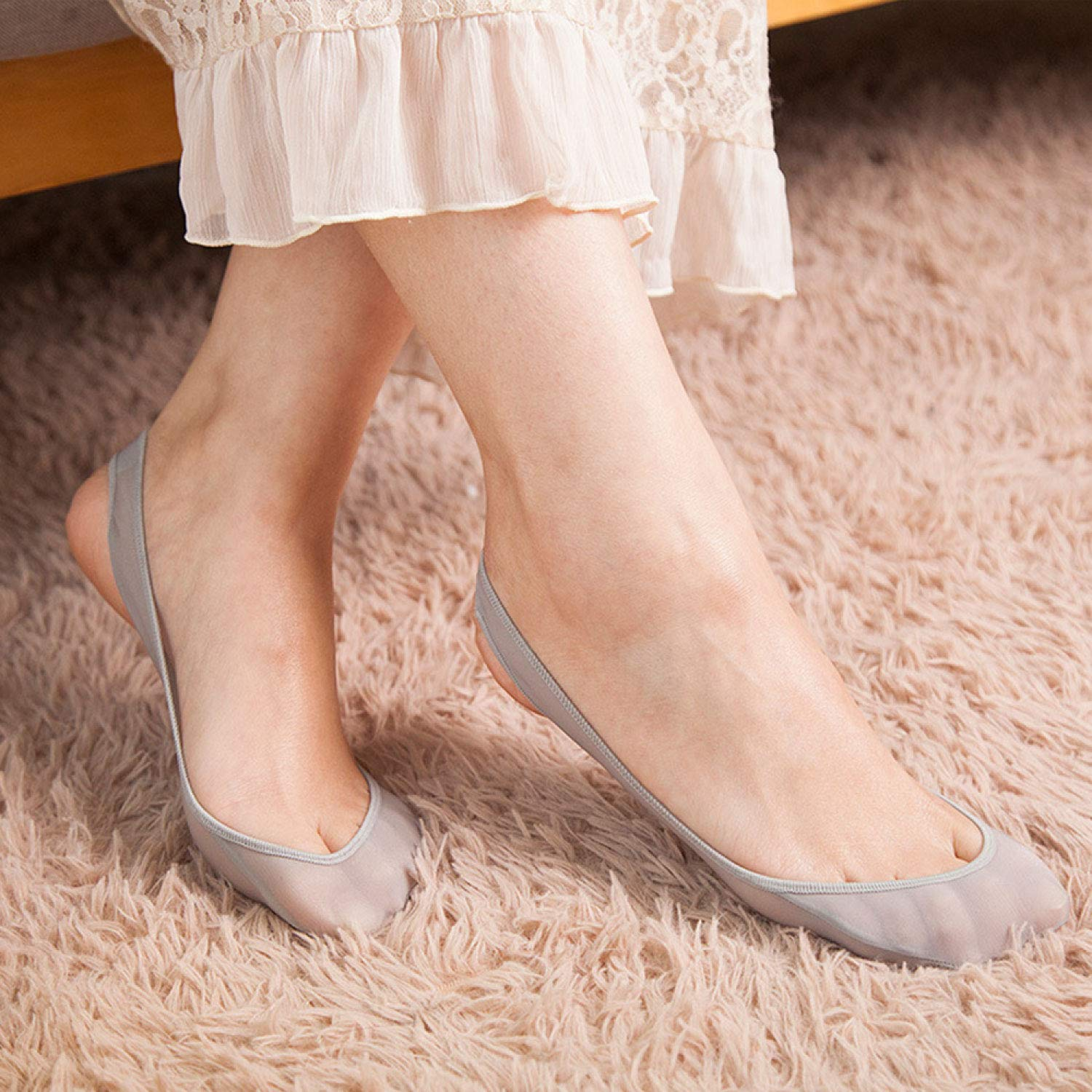 Liner Socks Seamless Invisible Socks with Pad Women/'s No Show Socks Non-Slip Grip.