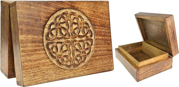 Piquaboo Sólido Madera Celtic Nudo Caja de Tarot Tallada de 18 x 13 cm: Amazon.es: Hogar