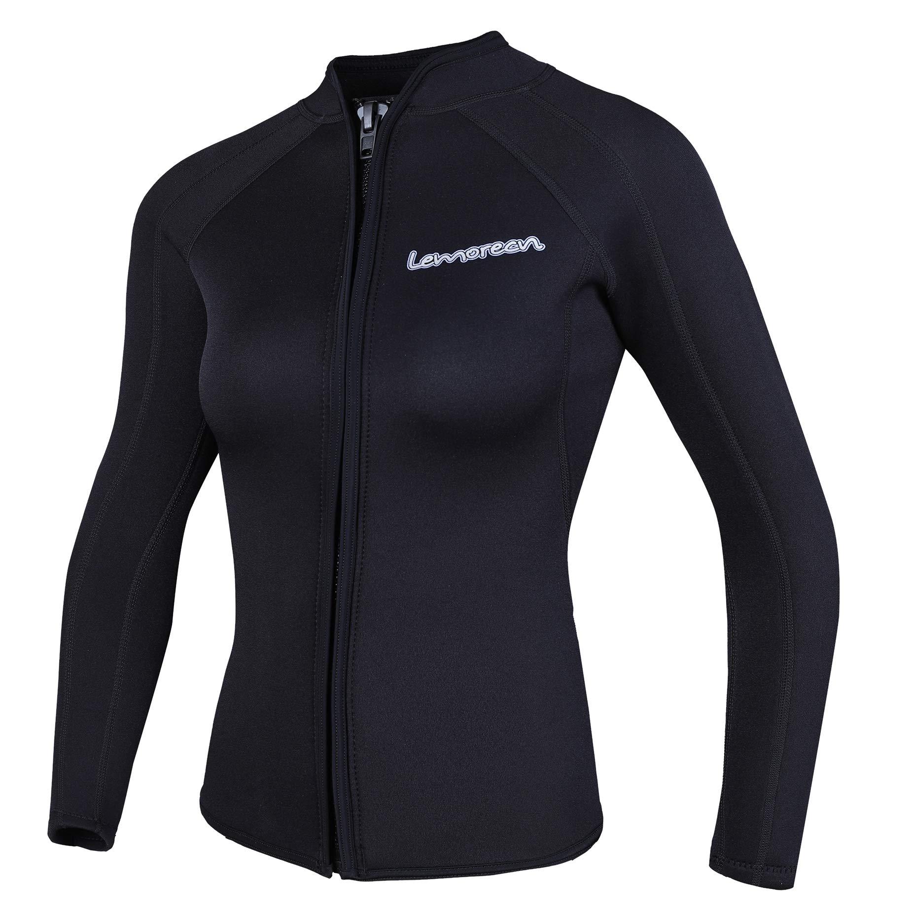 Lemorecn Women's 3mm Wetsuits Jacket Long Sleeve Neoprene Wetsuits Top (2041black14)