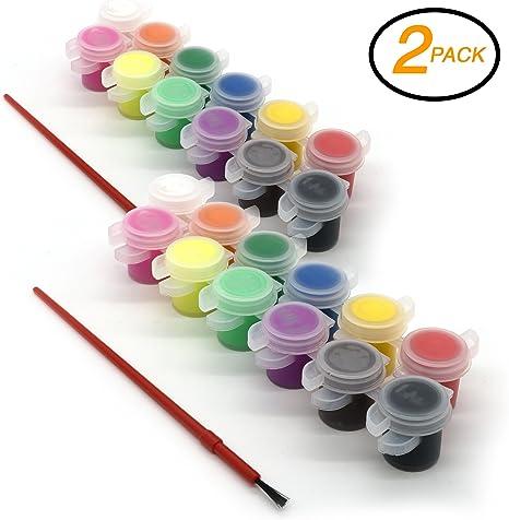 EMRAW Surtido 12 colores lavable fácil de quitar pintura para niños con cepillo arte herramienta de manualidades, 5 ml – para la escuela y el hogar (Pack de 2): Amazon.es: Juguetes y juegos