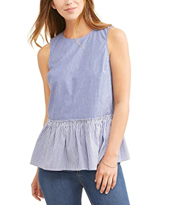 c2247e58f1ec08 Time and Tru Womens Striped Sleeveless Peplum Top at Amazon Women's ...