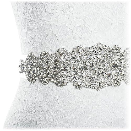 Redowa – Ceñidor Cinturón decorativo de diamantes falsos para vestido de novia
