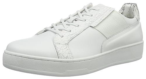 Calvin Klein Nickson Calf/Laser Texture/con, Zapatillas para Hombre, Blanco (Wht), 45 EU: Amazon.es: Zapatos y complementos