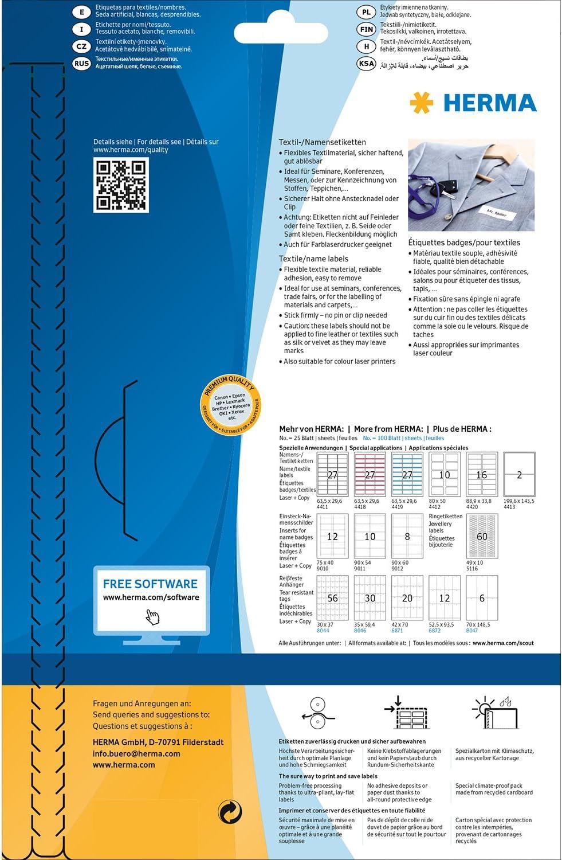 80 x 50 mm Pochette de 200 badges autocollantes pour textile HERMA Personnalisables et imprimables En soie dac/étate Impression laser, 4410