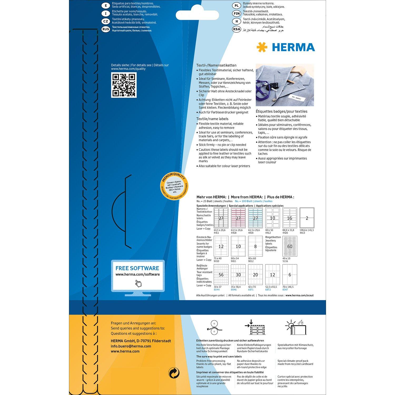 HERMA 4514/Etichette Rimovibili bianco 200/pezzi su 20/fogli DIN A4 80/X 50/mm, Tessile