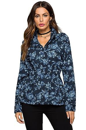 9598219daf3f7 Escalier Womens Vintage Floral Lightweight Short Anorak Drawstring Lapel  Jacket XS