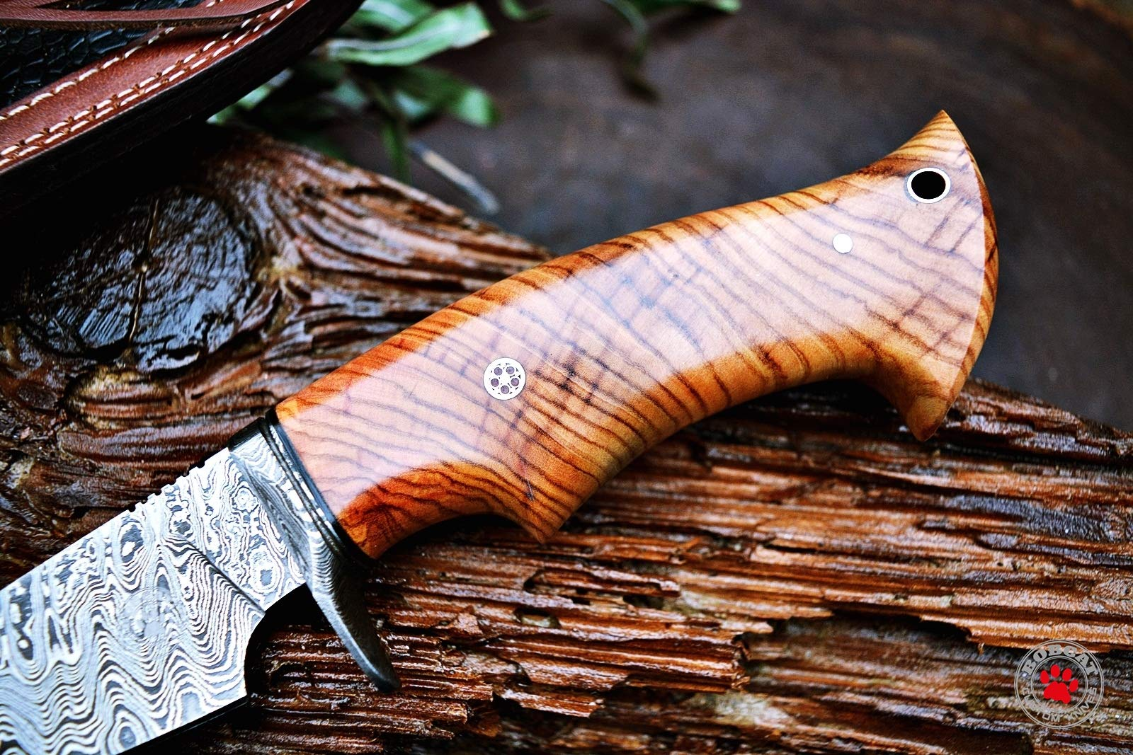 Custom Handmade Hunting Knife Bowie Knife Damascus Steel Survival Knife EDC 10'' Overall Olive Wood with Sheath by Bobcat Knives (Image #2)