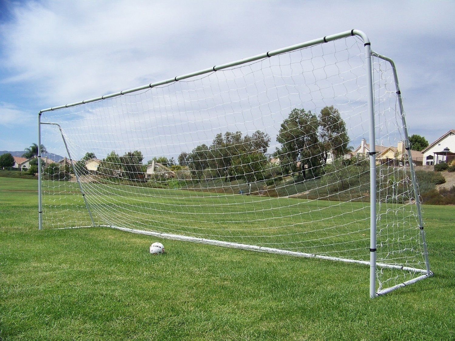 Official Size 24 X 8 X 5 Ft. Steel Soccer Goal. Heavy Duty Frame w/Net. Tournament, Regulation FIFA/MLS Size. Professional Portable Practice Training Aid. 24 X 8, 24x8(1Net)