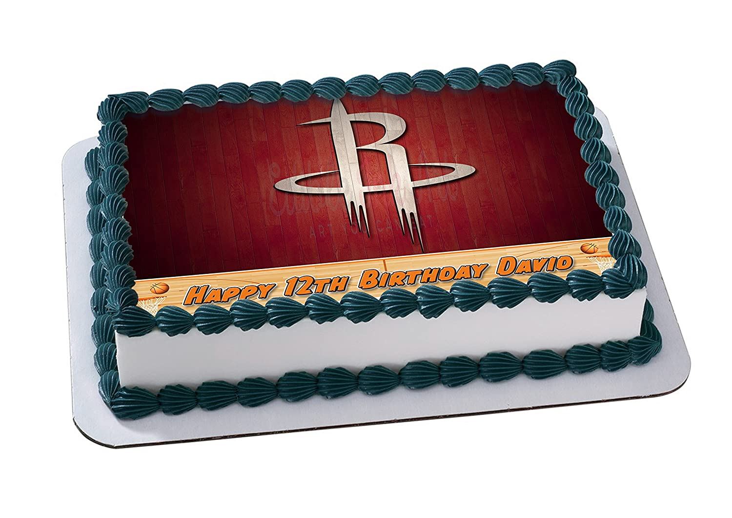Houston Rockets Basketball Edible Image Cake Topper Personalized Icing Sugar Paper A4 Sheet Frosting Photo 1 4 Best Quality For