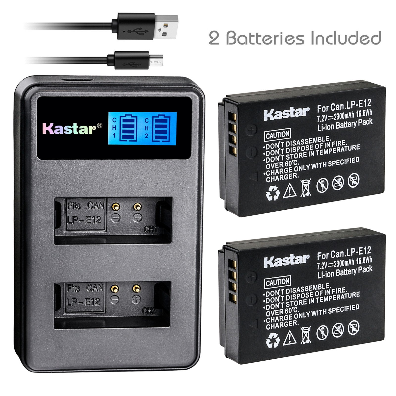 Kastar Battery (X2) & LCD Dual Slim Charger for Canon LP-E12 and Canon EOS 100D, EOS Rebel SL1, EOS M Camera System & Canon LPE12 Grip by Kastar
