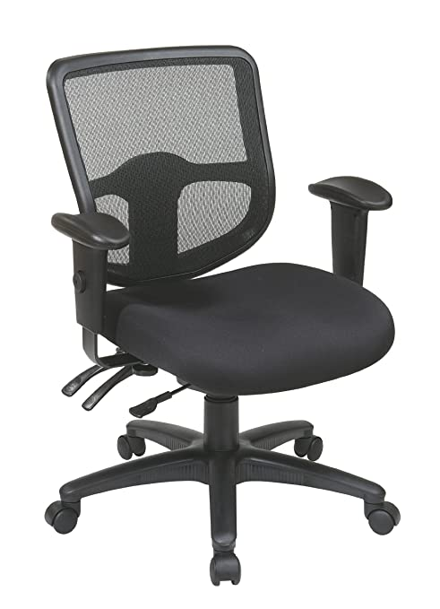 Office Star Ergonomic Task Chair with ProGrid Back and Ratchet Back Height Adjustment with Arms