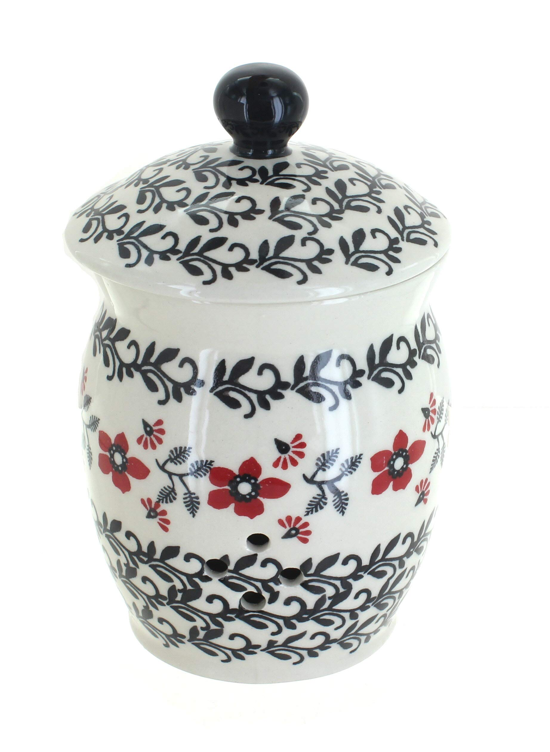 Blue Rose Polish Pottery Scarlett Ivy Garlic Keeper by Blue Rose Pottery