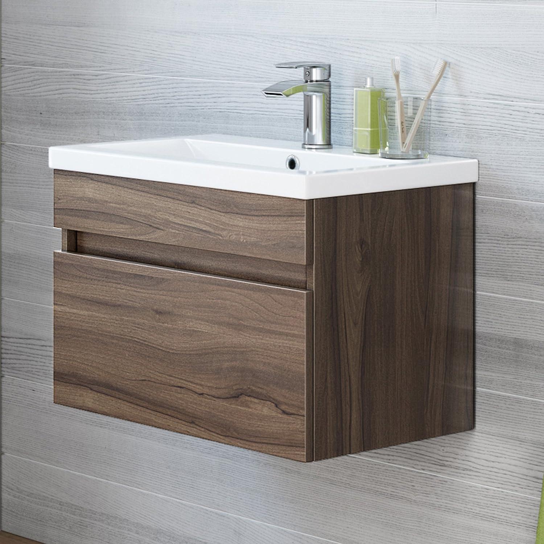 600mm Walnut Effect Wall Hung Bathroom Basin Cabinet Sink iBathUK