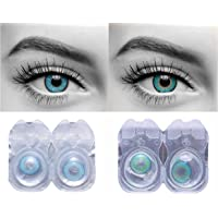 Eyeshine Blue & Turquoise Colored Contact Lens 2 Pair Monthly Disposable With Case And Solution