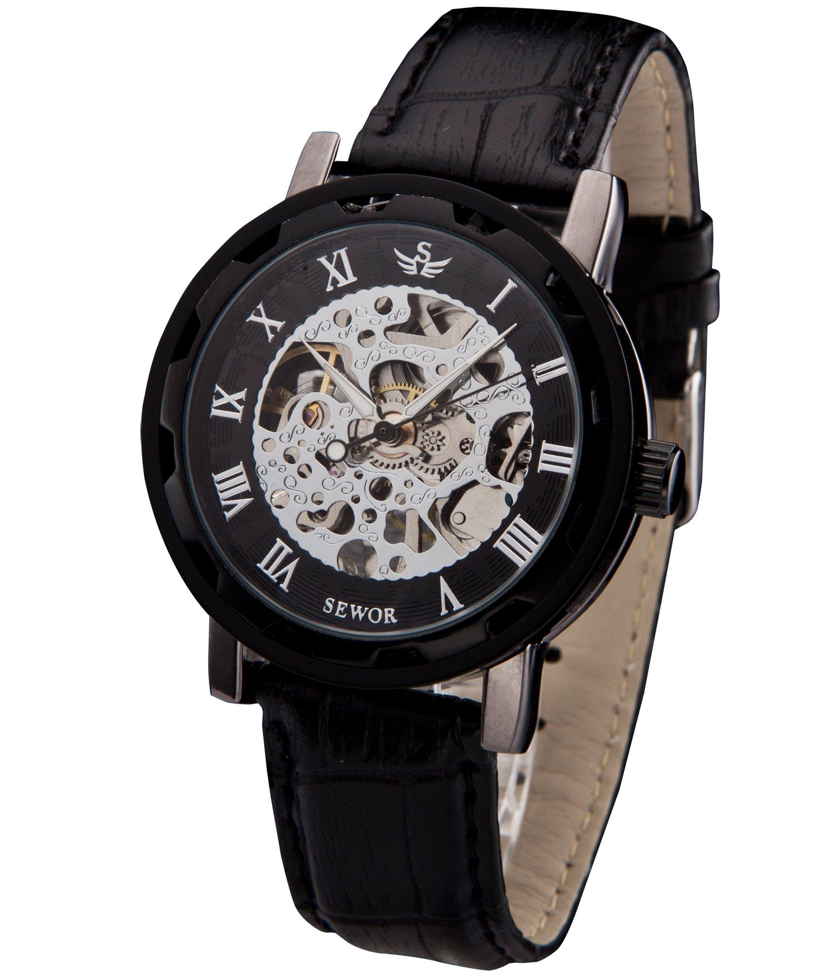 2017 New Fashion Skeleton Black Steel Men Male Clock Sewor Brand Hollow Cool Stylish Design Classic Mechanical Wrist Dress Watch Mechanical Watches