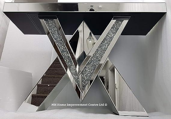 HM MH - Mesa Consola con Espejo (120 x 80 x 36 cm), diseño de Diamantes, Color Plateado: Amazon.es: Hogar