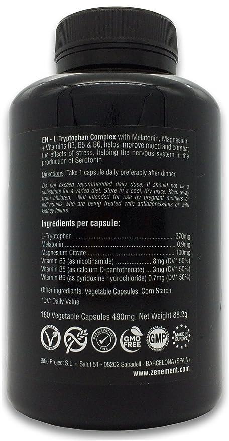 L-Triptófano Complex con Melatonina, Magnesio + Vitaminas B3, B5 y B6, 180 Cápsulas | Regula el estado de ánimo y combate los efectos del estrés, ...