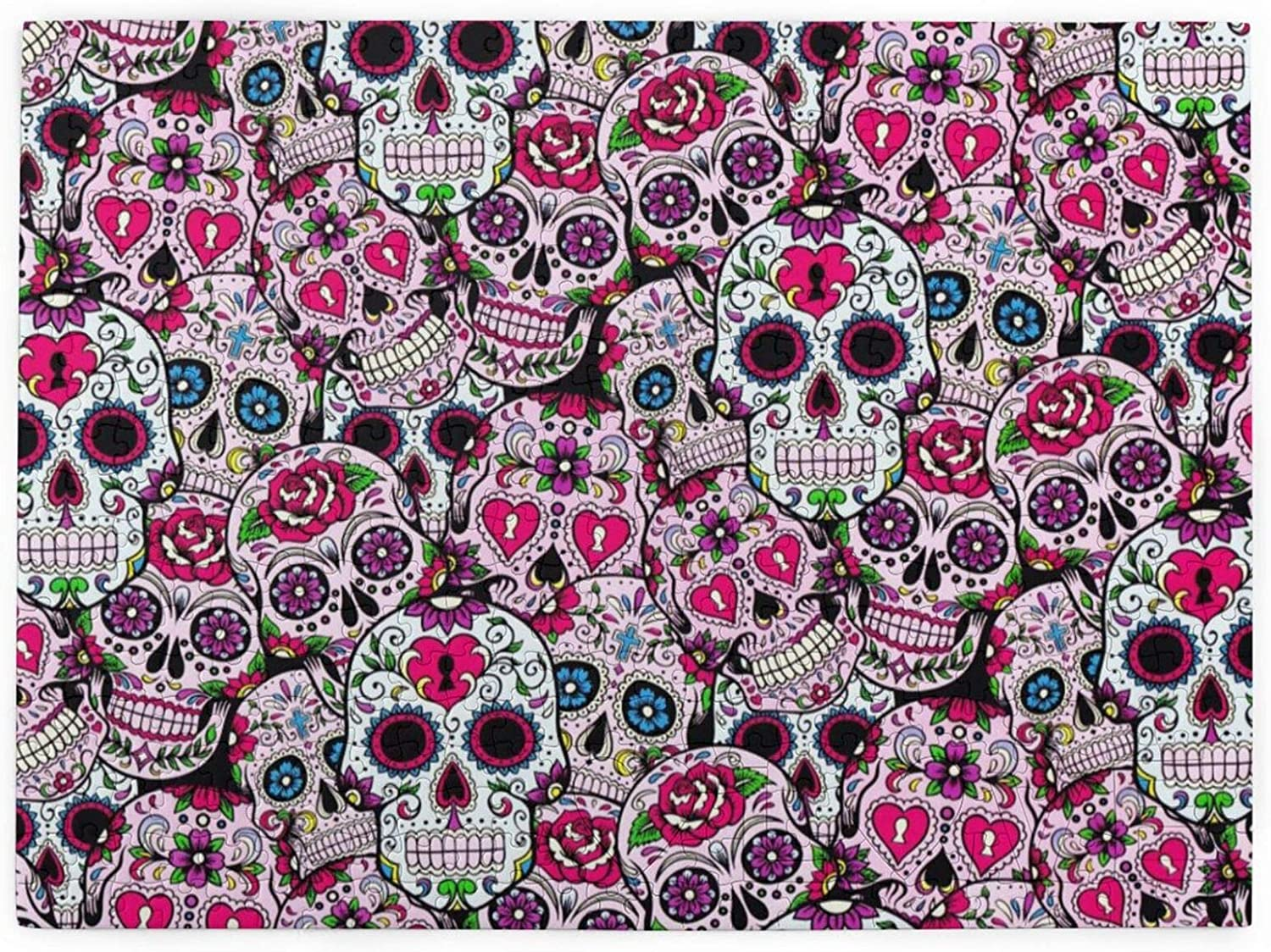 Nigorsd Day of The Dead Sugar Skulls 520 Pieces Jigsaw Puzzle for Educational Gift Home Decor, Boredom Buster Activity, Brain Teaser for Adults Teens