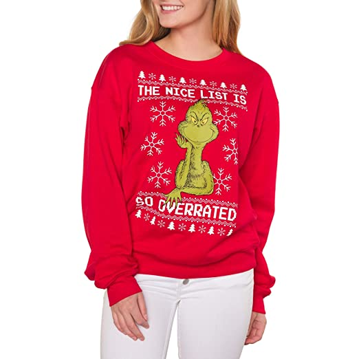 Amazoncom The Grinch Juniors Nice List Holiday Graphic Crewneck