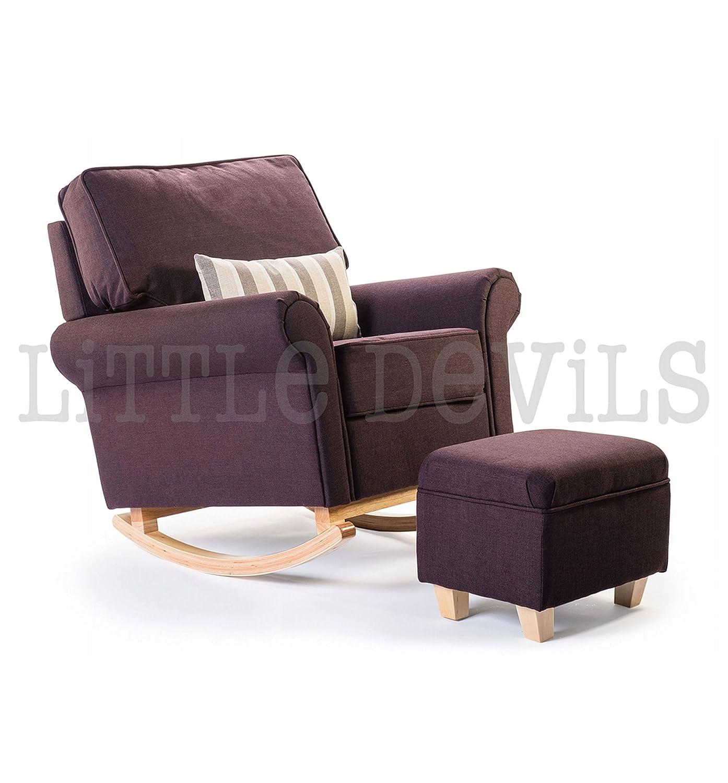 Hush Hush Sessel mit Stand- und Schaukelfunktion, ideal zum Relaxen auch in der Schwangerschaft, braunes Polster Der ideale Stuhl für während der Schwangerschaft oder zum Entspannen im Wintergarten