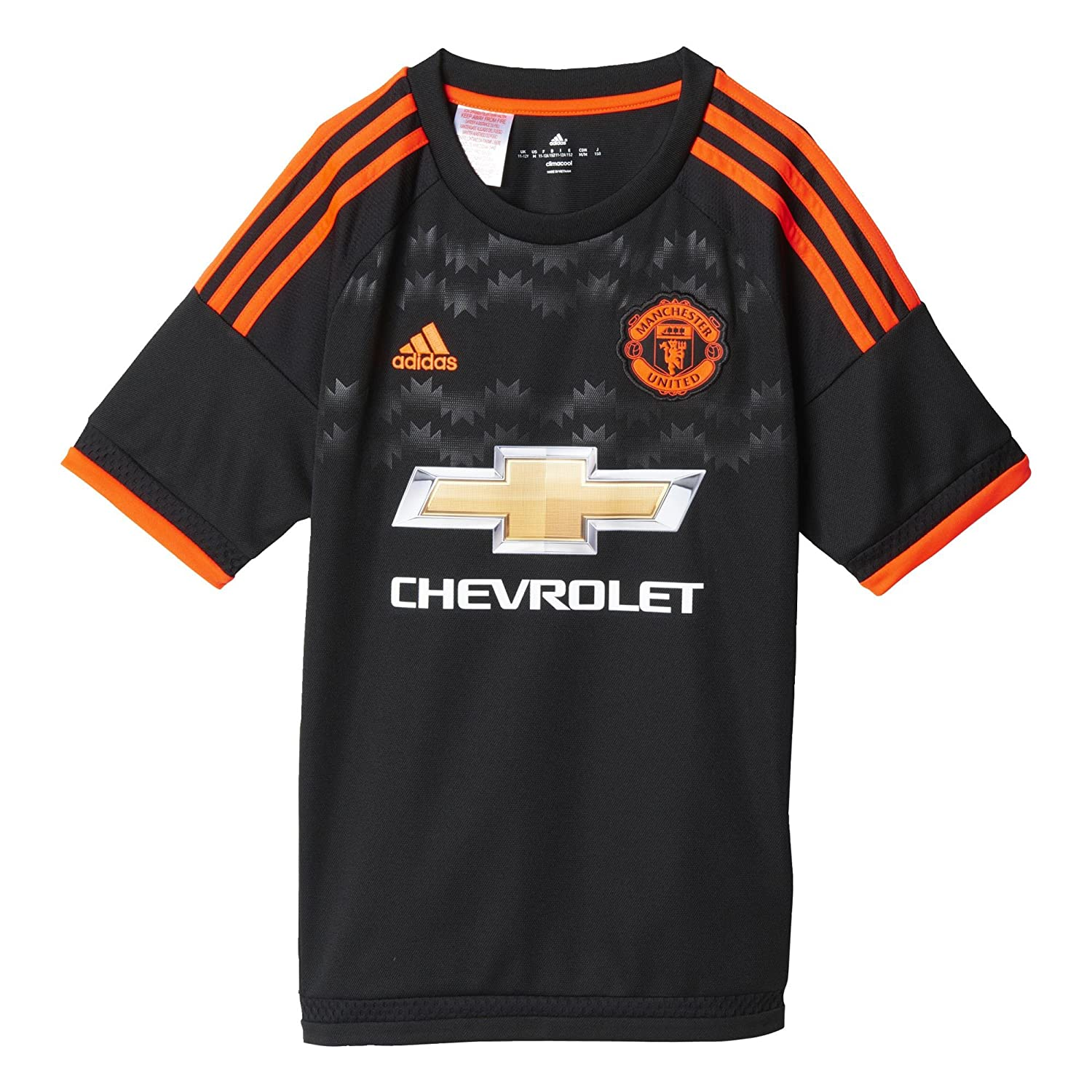 Adidas Manchester United FC Official 201516 Third Jersey Youth BlackSolar Red
