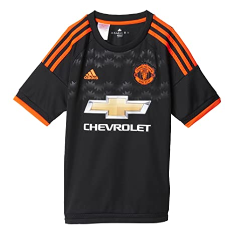 more photos a6cf9 062e1 Adidas Manchester United FC Official 2015/16 Third Jersey - Youth -  Black/Solar Red -