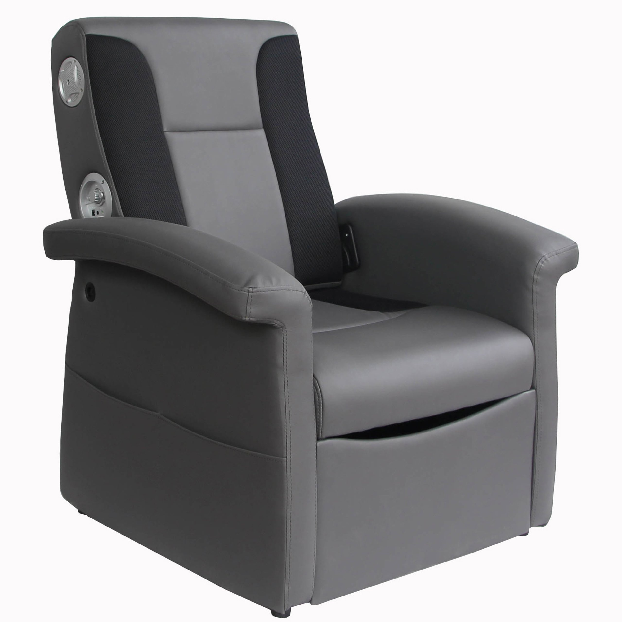 X Rocker Triple Flip 2.1 Sound Recliner with Storage Compartment - Foldable Gaming Chair, Home Theater Seating with 2 Speakers and 4'' Subwoofer - Gray, 0717901 by X Rocker