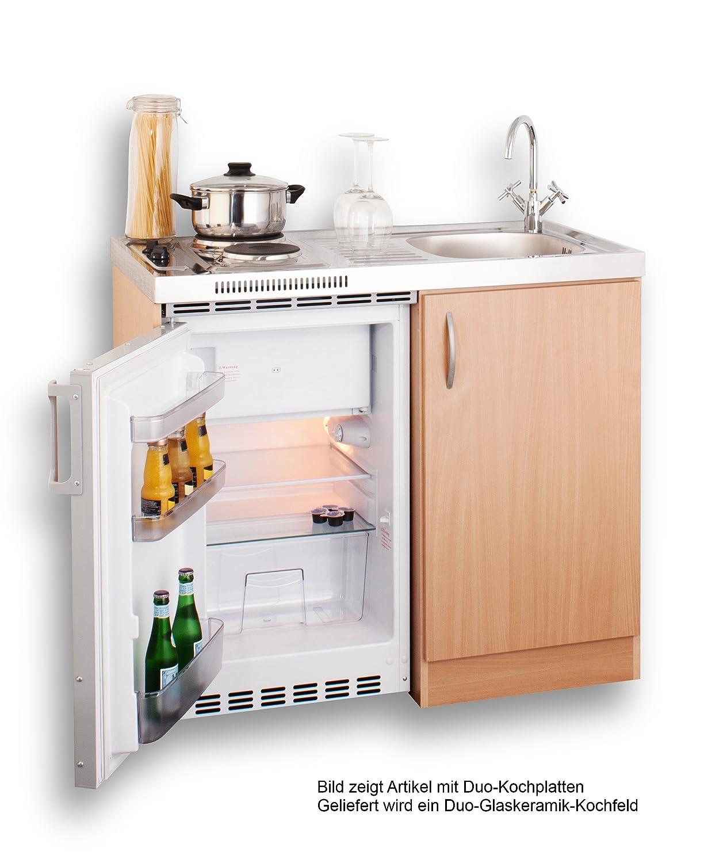 Singleküche mit kühlschrank  Mebasa MEBAKB100CFOOS Pantryküche Singleküche 100 cm Buche mit ...